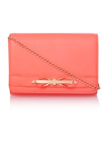 Orange small bow leather cross body bag