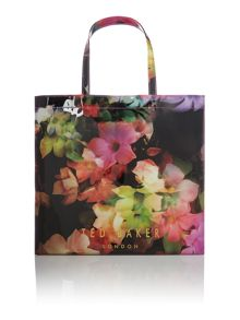 Black and pink large floral print bowcon bag