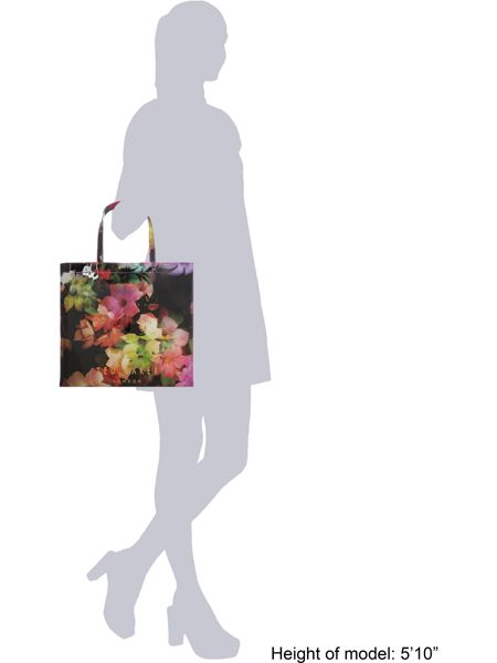 Ted Baker Black and pink large floral print bowcon bag