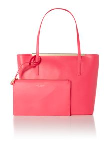Pink large leather tote bag