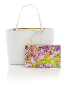 White large printed lining leather tote bag