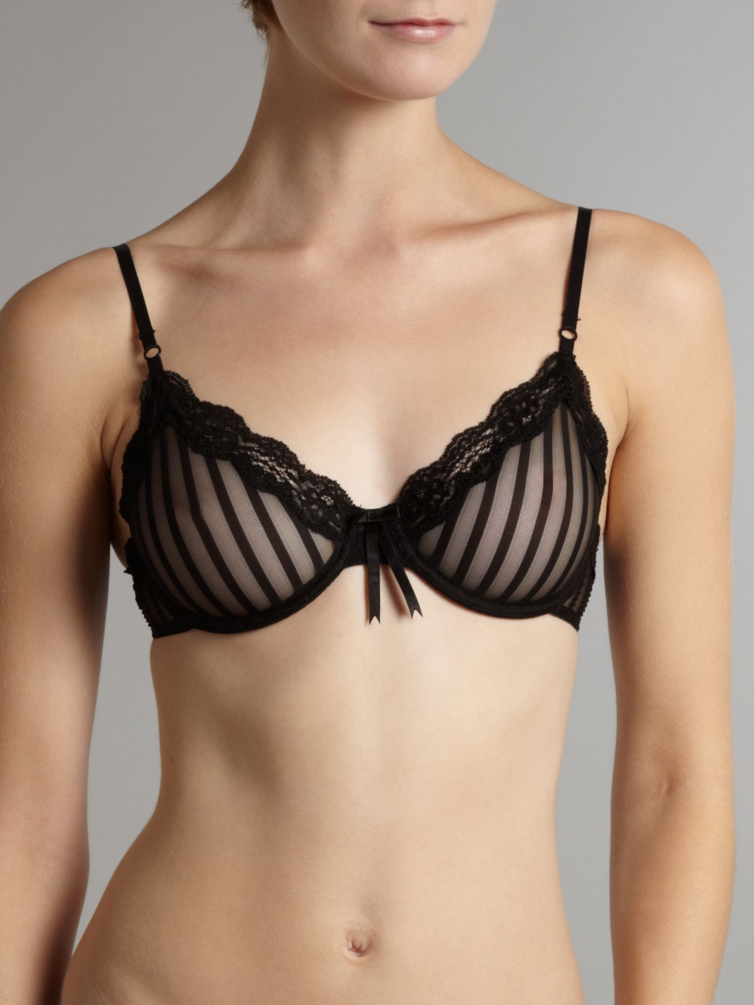 Sheer Ribbons black underwired bra