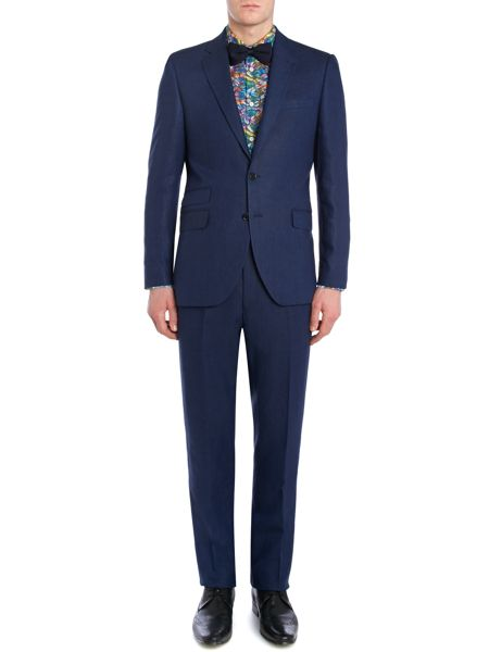 New & Lingwood Burlow Linen Tailored Fit Suit Trousers