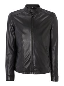 Bryce Black Leather Biker Jacket