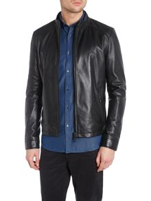 Kenneth Cole Bryce Black Leather Biker Jacket