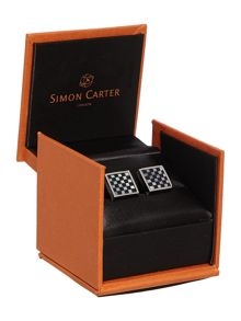 Simon Carter Small square checkers cufflink