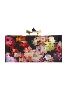 Black and pink floral print crystal top purse