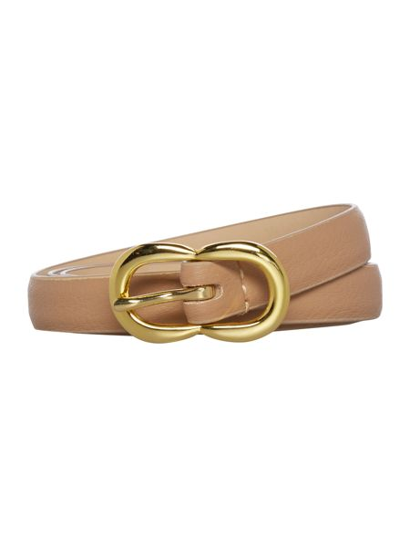 Stephen Collins Neutral leather double buckle belt