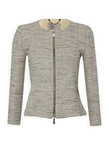 Striped boucle zip front jacket
