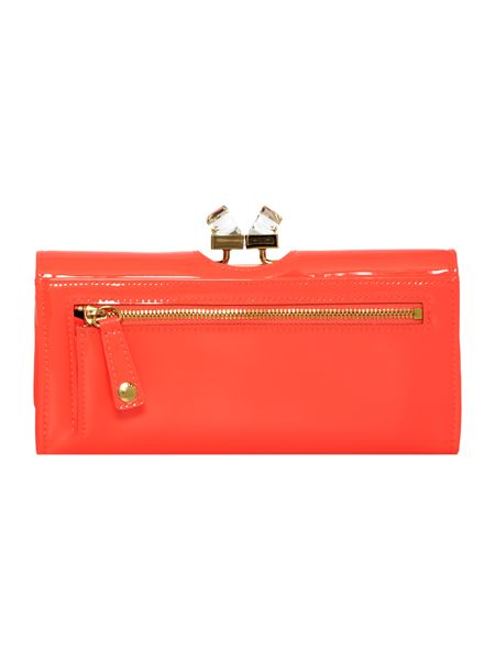 Ted Baker Coral large patent crystal bow flapover purse