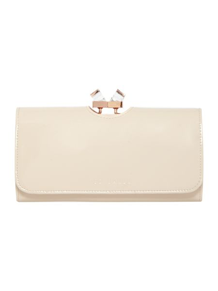 Ted Baker Nude large patent crystal bow flapover purse