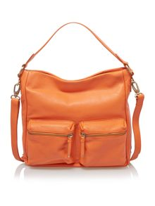 Beamish orange zip pocket hobo bag