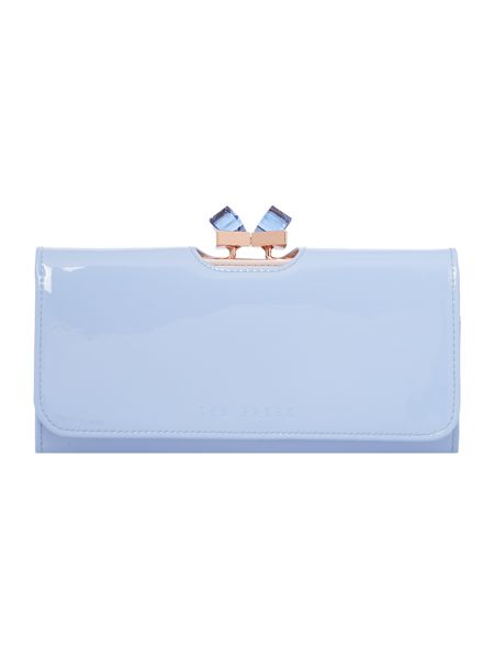 Ted Baker Pale blue large patent crystal bow flapover purse