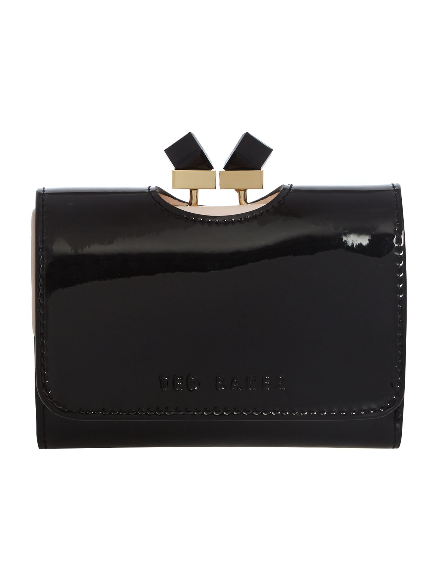 Ted Baker Black small patent cyrstal bow flapover purse