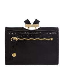 Black small patent cyrstal bow flapover purse