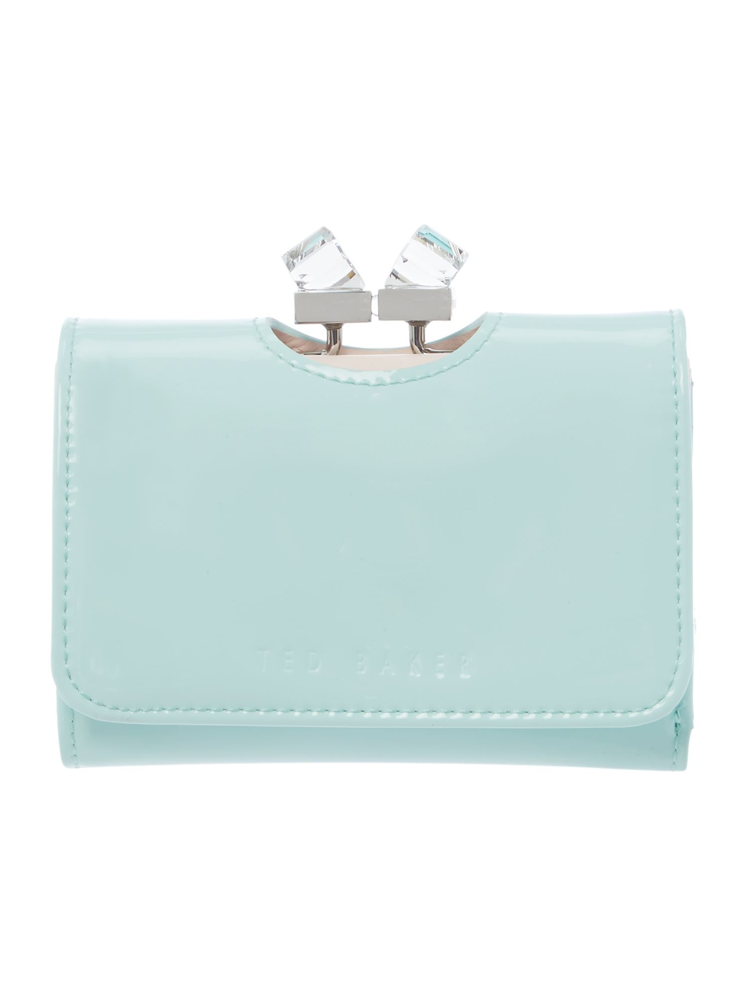 Ted Baker Green small patent crystal bow flapover purse