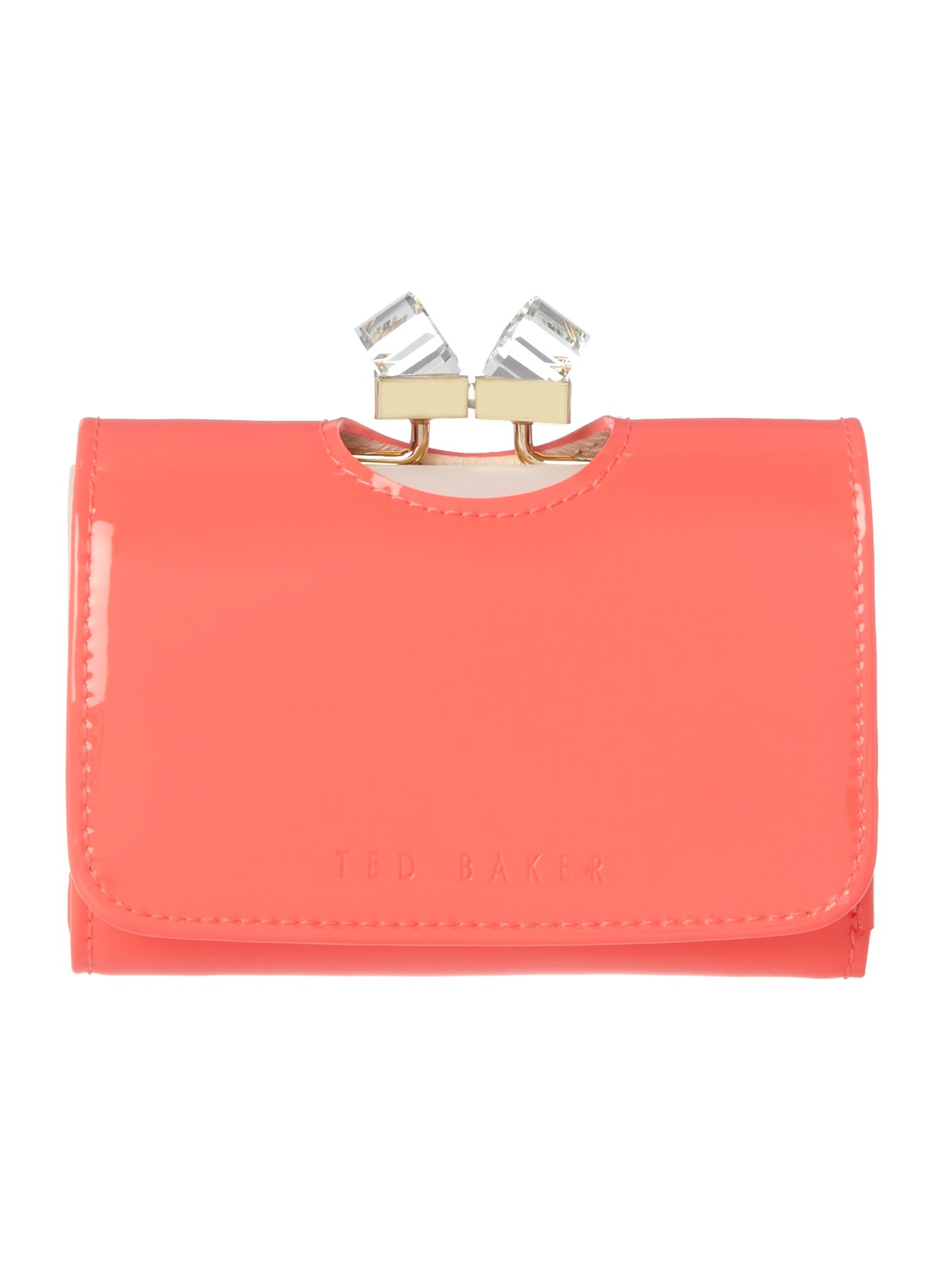 Ted Baker Coral small patent crystal bow flapover purse