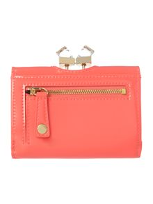 Coral small patent crystal bow flapover purse
