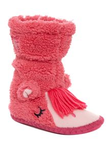 Girls pony print slipper