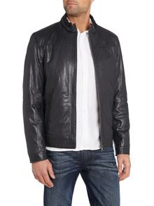 Funnel neck leather jacket