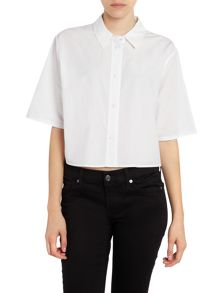 T by Alexander Wang Cropped short sleeve poplin shirt