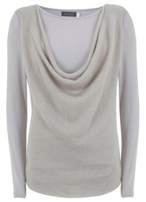 Latte Cowl Neck Jersey Mix Top