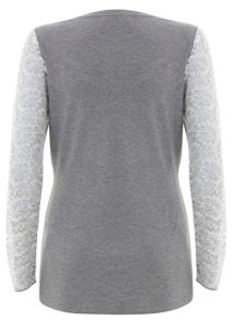 Silver Grey Lace Sleeve Top
