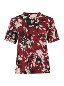 Silhouette floral shell top