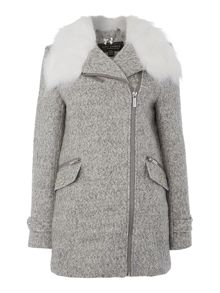 Long sleeve zip fur collar coat