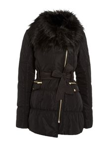 Fur collar with belt coat
