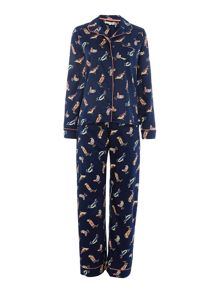 Bird print cotton sateen pyjama set