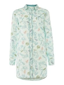Woodland print cotton sateen nightshirt