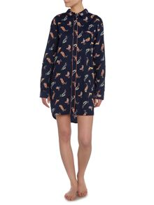 Bird print cotton sateen nightshirt
