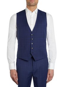 Ted Baker Wellbe Slim Fit Bright Blue Check Waistcoat