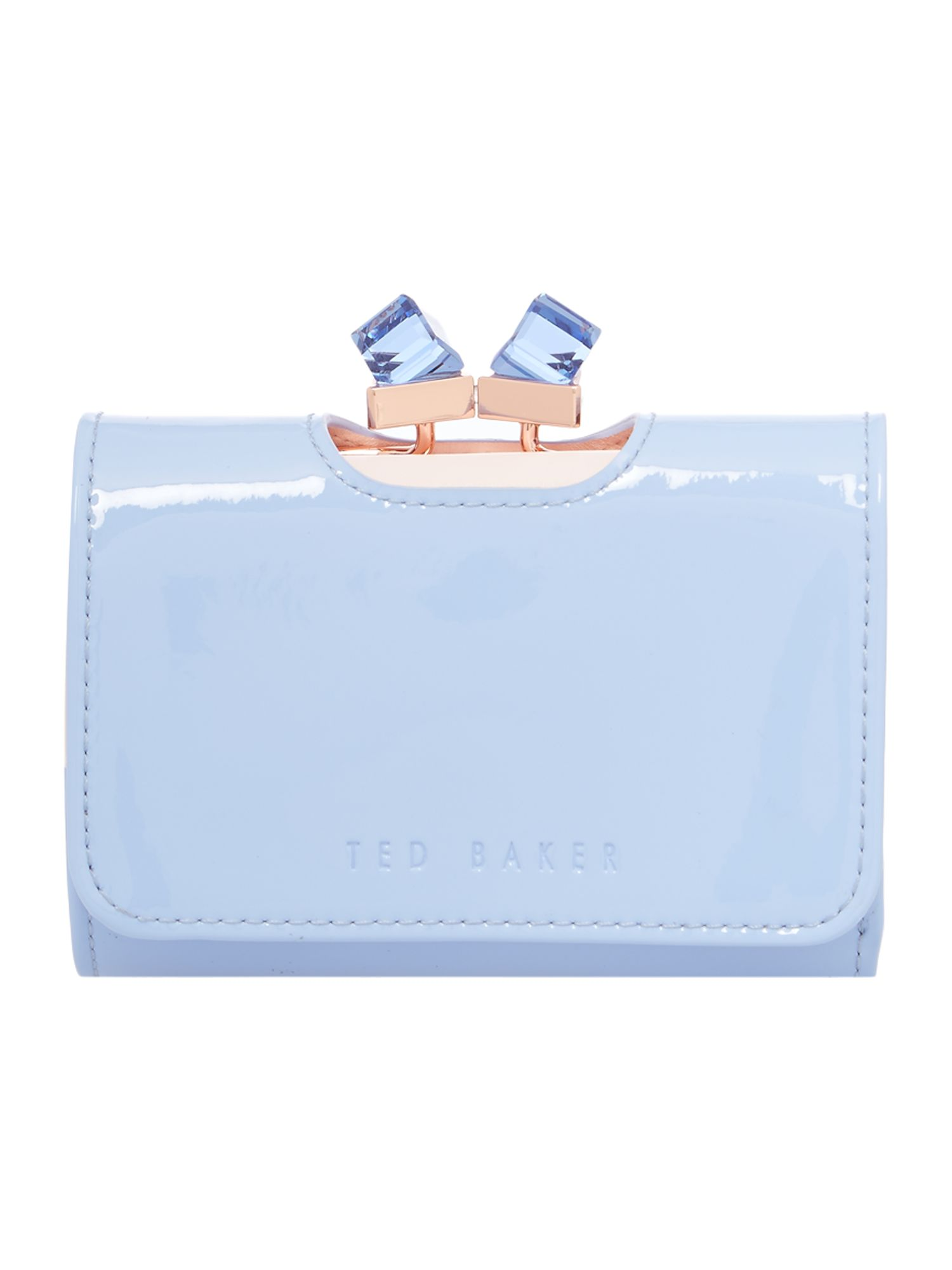 Ted Baker Pale blue small patent crystal bow flapover purse