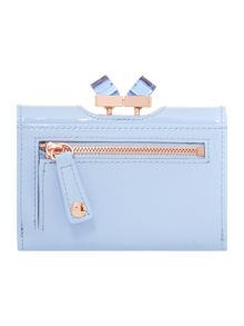 Pale blue small patent crystal bow flapover purse