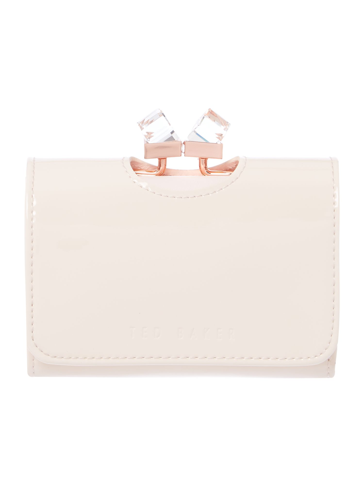 Ted Baker Neutral small patent crystal bow flapover purse