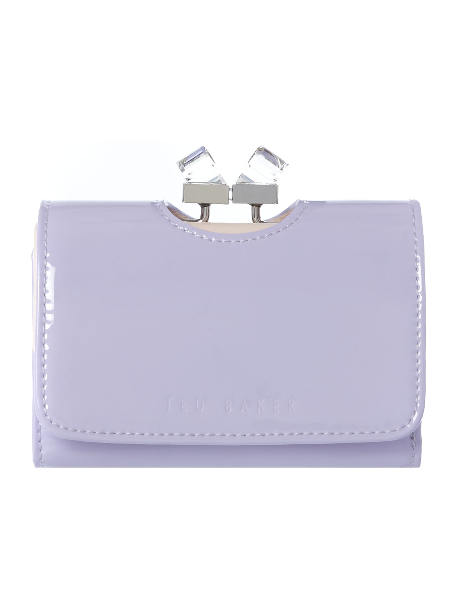 Ted Baker Lilac small patent crystal bow flapover purse