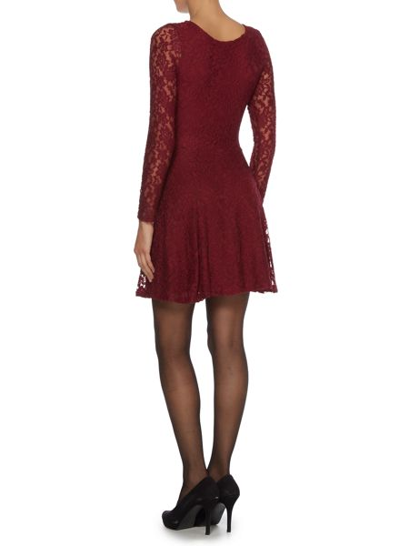 Wal-G Long sleeve lace skater dress