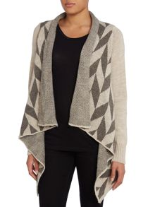 Geometric pattern knit cardigan
