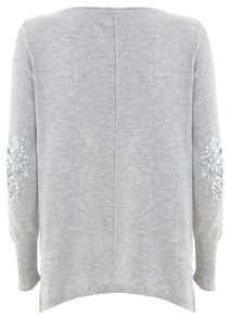 Grey Sequin Patch Knit
