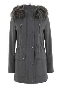 Grey Faux Fur Hood Parka