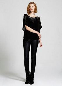 Black Double Layer Beaded Top