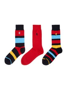 3 Pack Block Stripe Sock