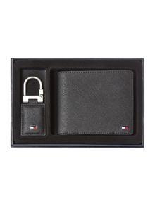 Saffiano wallet and key fob in a box
