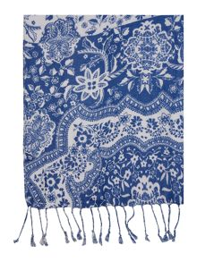 Floral paisley with tassels scarf