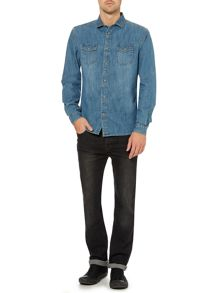 Cactus Light Wash Denim Long Sleeve Shirt