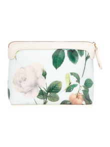 Green small floral print costmetics bag
