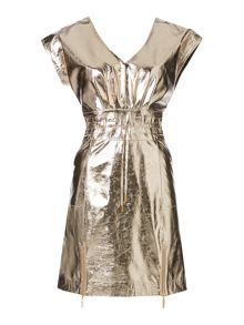 Gold limited edition leather tie waist dress
