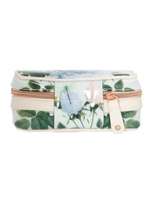 Green floral print jewellery case